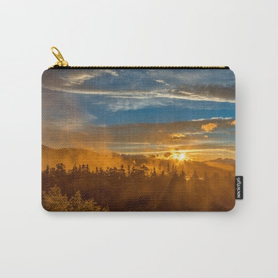 Misty Gold Mountain Sunset Carry-All Pouch