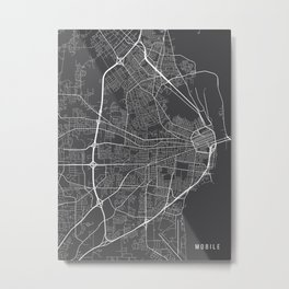 Mobile Map, Alabama USA - Charcoal Portrait Metal Print