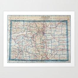 Vintage Map of Colorado (1921) Art Print