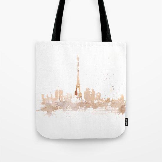 Watercolor landscape illustration_Paris Tote Bag