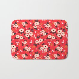 05 Ditsy floral pattern. Red background. White and pink flowers. Bath Mat