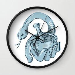 Hand holding mortar a Wall Clock