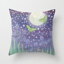 Moonlit stars, luna moths, snails, & irises Throw Pillow