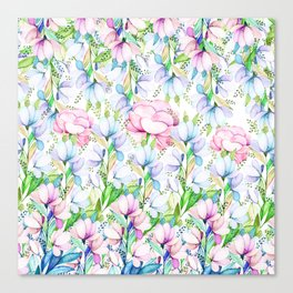 Hand painted pink lavender teal watercolor floral Canvas Print