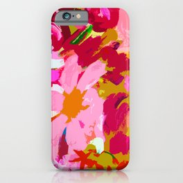 Abstracted Flower Painting in Hot Pink, red, spring green iPhone Case