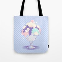 snorlax Tote Bags featuring Sweet Tooth Sundae by Miski