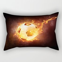 Fire Football Soccer Sport Rectangular Pillow