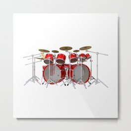 Red Drum Kit Metal Print