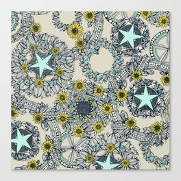 cirque fleur stone aqua star Canvas Print