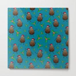 Dancing Pinecones in Turquoise Metal Print