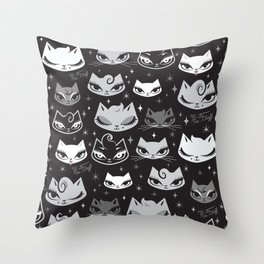 Rockabilly Cats with Pompadours Throw Pillow