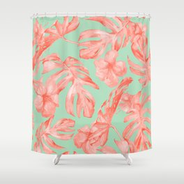 Island Life Coral Pink + Pastel Green Shower Curtain