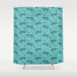 Crocodile Crane Pattern Shower Curtain