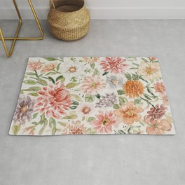 Loose Peachy Dahlia Watercolor Bouquet Rug