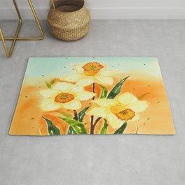 Yellow Daffodils Watercolor Design Rug