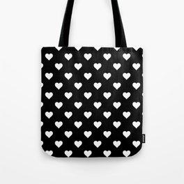 Simple Monochrome Hearts Pattern - White On Black Tote Bag