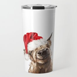 Christmas Highland Cow Travel Mug