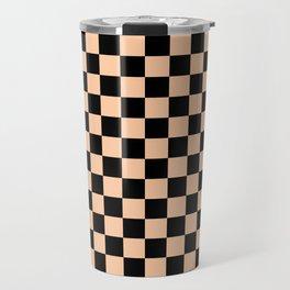 Black and Deep Peach Orange Checkerboard Travel Mug