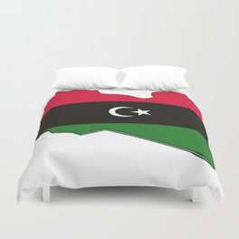 Libya Map with Libyan Flag Duvet Cover