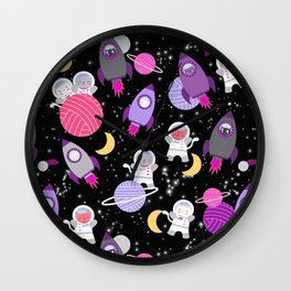 Purple Pink Cat Astronaut Outer Space Pattern Wall Clock