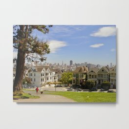 Strolling through Alamo Square Park Metal Print