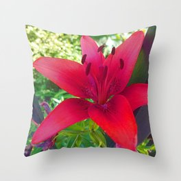 Red Lily Throw Pillow