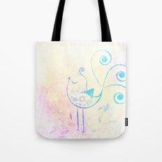 Watercolor Retro Bird Tote Bag