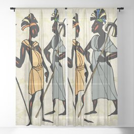 Man ethic african people collage Sheer Curtain