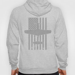 P-51 Mustang WWII Fighter Airplane Vintage Flag Design Hoody