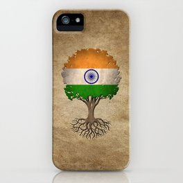 Vintage Tree of Life with Flag of India iPhone Case