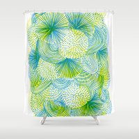 lime Shower Curtains featuring Space lime by Marcelo Romero