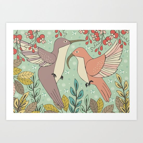 Dancing Hummingbirds Art Print