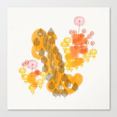 Flowers and Leaves Abstract - Orange Canvas Print