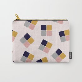 Small squares in blue, pink, grey and orche Carry-All Pouch