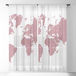 world map 25 gold rose Sheer Curtain