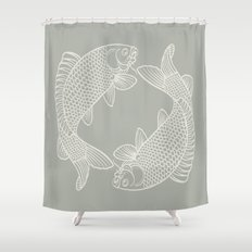 Gray Grey Koi Fishes Shower Curtain
