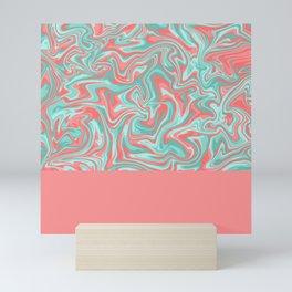 Liquid Swirl - Peach and Green Mini Art Print
