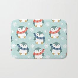 Winter penguins pattern Bath Mat