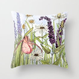 Lady Slipper Orchid Woodland Wildflower Watercolor Throw Pillow