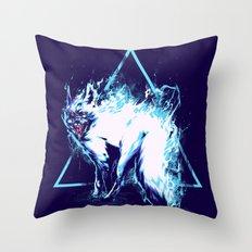 flaming Fox Throw Pillow