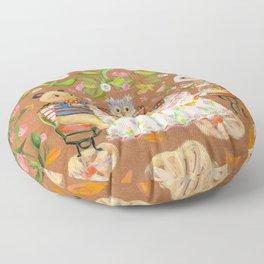 Birthday in strawberry field Floor Pillow