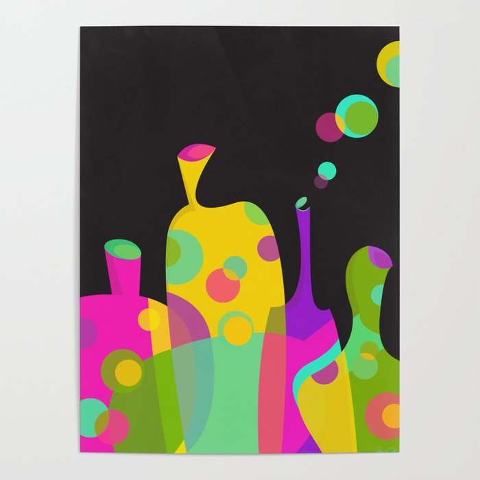 colorful funky bottle shapes ii poster by graphictabby society6