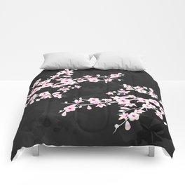 Pink Black Cherry Blossom Comforters