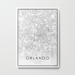 Olando City Map United States White and Black Metal Print