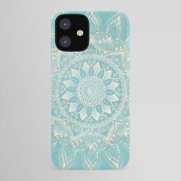 Elegant White Gold Mandala Sky Blue Design iPhone Case