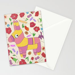 Fiesta - Colorful, Donkey Piñata, Mexican Candy Illustration  Stationery Cards