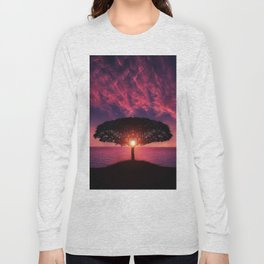 Purple Coastal Sunset with Lonely One Tree Hill color photograph / photography Long Sleeve T-shirt