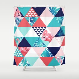 seamless pink flamingo pattern Shower Curtain