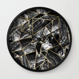 Black White Agate Black Gold Geometric Triangles Wall Clock