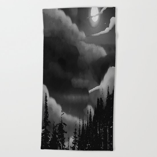 Bright Cloudy Night Sky in Black and White Beach Towel